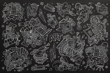 Art and paint materials doodles chalkboard vector symbols