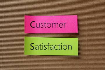 customer satisfaction text on colorful sticky notes