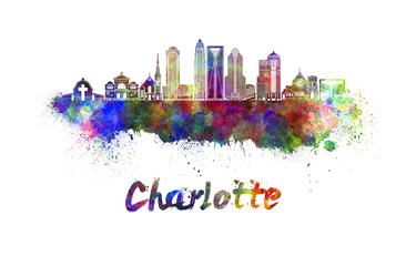 Charlotte skyline in watercolor splatters with clipping path Wall mural