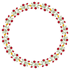 Round frame with red and yellow roses. Vector clip art.
