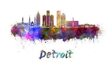 Fotomurales - Detroit skyline in watercolor