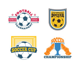 Soccer football badge logo design templates Sport team identity football logo vector isolated on white background. Soccer themed football logo graphic emblem game icon.