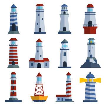 Vector set of cartoon flat lighthouses. Searchlight towers for maritime navigation guidance. Ocean beacon light vector tower lighthouse. Travel lighthouse water sailing signal navigation symbol.