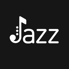 Saxophone Jazz logo on black background.