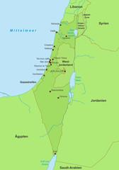 Karte von Israel - Grün (detailliert)