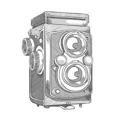 movie camera sketch vector - cinema film camera