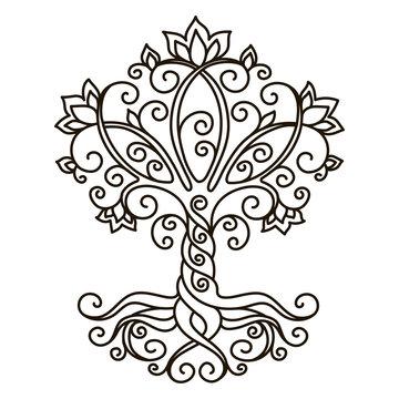 decor element, vector, black and white illustration, mandala, tree