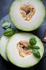 Close-up of ripe and juicy melon slices, selective focus