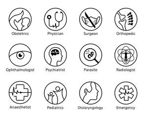 Department of Medicine circle line icon sign vector set design