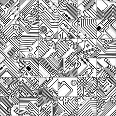 Thirty Six Unique Tiles with Circuit Board Theme in Grayscale. V