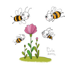 Cute cartoon bees.