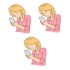 Woman expression looking at phone