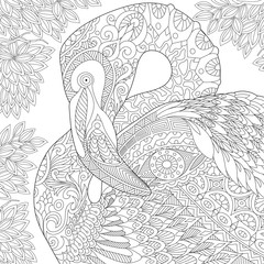 Stylized flamingo bird among jungle foliage.