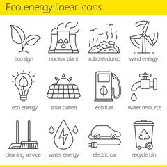 Eco energy linear icons set