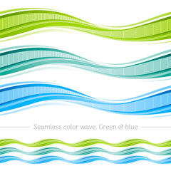 Abstract seamless wave pattern on white background. Vector illustration set with three gradient colors - green, blue. Elegant design template.