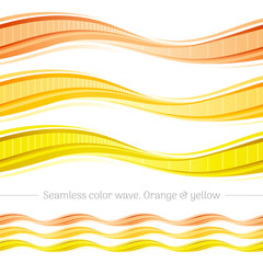Abstract seamless wave pattern on white background. Vector illustration set with three gradient colors - orange, yellow. Elegant design template.