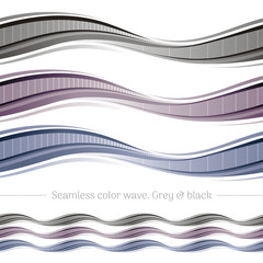Abstract seamless wave pattern on white background. Vector illustration set with three gradient colors - monochrome grey, black. Elegant design template.