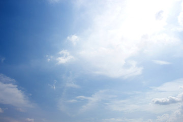Beautiful Blue Sky Background Template With Some Space for Input Text Message Below Isolated on Blue sky.