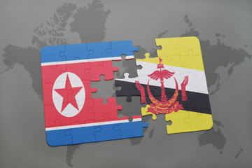 puzzle with the national flag of north korea and brunei on a world map background.
