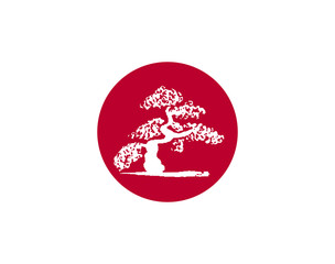 Vector Japanese flag with silhouette of bonsai