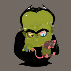 Cartoon Funny Scary Green Monster with Rat