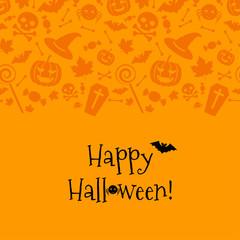Halloween card with spider, bat. Vector Illustration