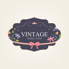 vintage label flower sweet old style fashion
