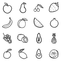 Vector Set of Black Doodle Fruits Icons.