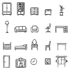 Vector Set Of Black Doodle Furniture Icons