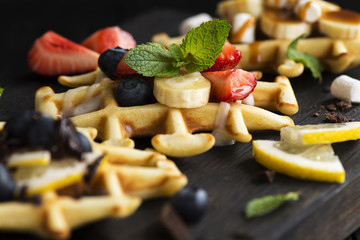 Thick belgium waffles with different toppings