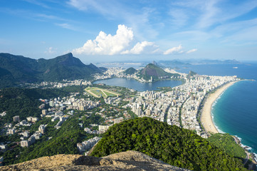 The scenic view of Ipanema Beach and Lagoa Rodrigo de Freitas as viewed from the top of Dois Irmaos Two Brothers Mountain in Rio de Janeiro, Brazil