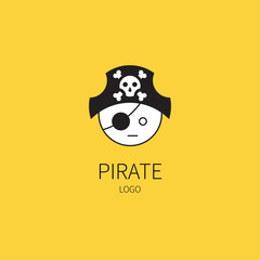 Logo. Pirate captain head. Flat style vector illustrations