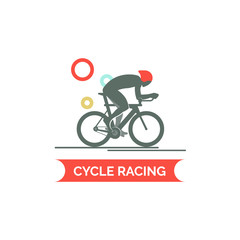 Bicycle race logo. Flat style vector illustrations