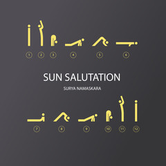 Vector set of icons for sun salutation yoga exercises. Line style.