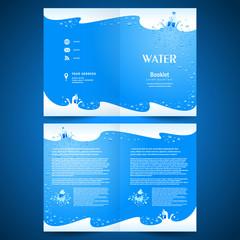 booklet catalog brochure folder water aqua splash bootle blue ba