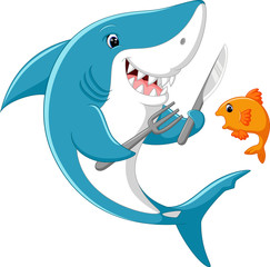 Cute shark cartoon ready to eat little fish