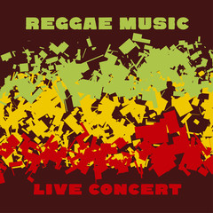 classic reggae color music background. Jamaica poster vector ill