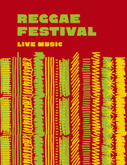reggae music classic color background. Jamaica poster vector ill