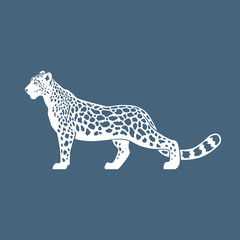 Snow Leopard vector illustration logo, sign, emblem on blue back
