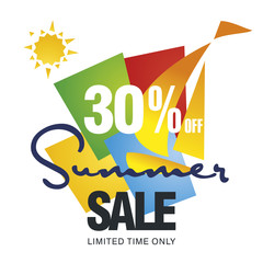 Summer sale 30 percent off discount offer sailboat color background vector