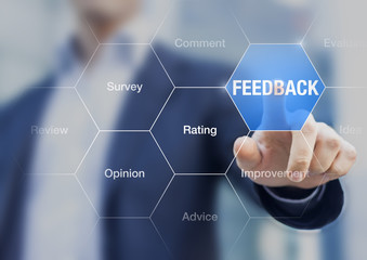 Feedback button, concept about customer opinion, comment, review