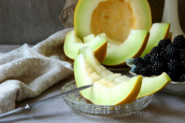 Ripe melon slices, sliced on a plate..