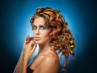 red-haired girl with creative makeup