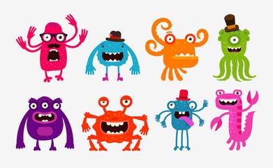 Cartoon monsters or bogeyman set. Vector illustration