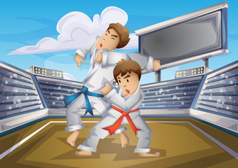 Cartoon vector judo Olympic sport with separated layers for game and animation, game design asset