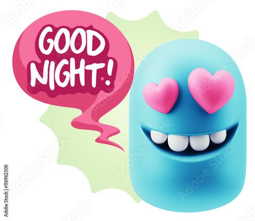 3d Rendering  Emoji in love with heart eyes saying Good