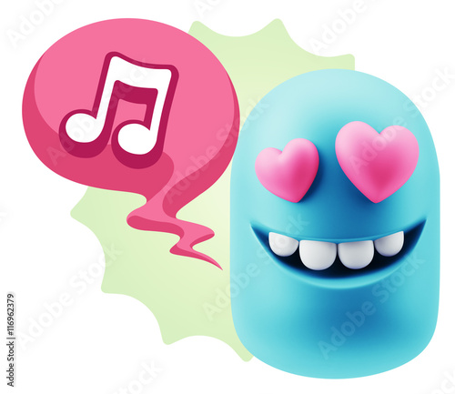 3d Rendering  Emoji in love with heart eyes saying Music Symbol