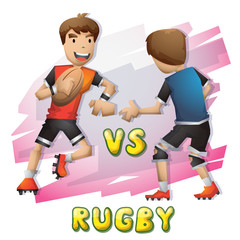 Cartoon vector rugby Olympic sport with separated layers for game and animation, game design asset