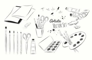Line art illustration set of artists supplies