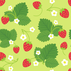 Seamless pattern of strawberry bushes. Vector background.